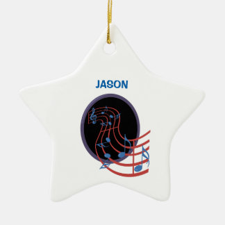 Good Luck, Black Music Circle Ceramic Ornament