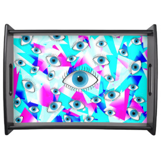 Good Luck Blue Eyes on Girly Geometric Trianlges Serving Tray