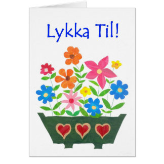 Good Luck Card, Norwegian Greeting - Flower Power Card