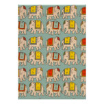 Good luck circus elephants cute elephant pattern poster
