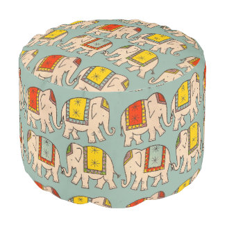 Good luck circus elephants cute elephant pattern pouf