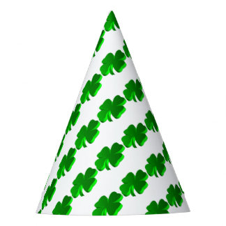 Good Luck Clover Pattern Green Funny Elegant Party Hat