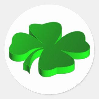 Good Luck Clover Pattern Green Funny Elegant Round Sticker