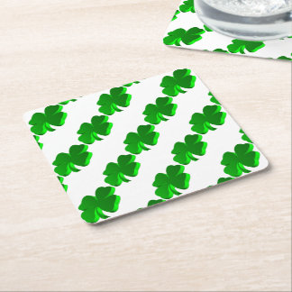 Good Luck Clover Pattern Green Funny Elegant Square Paper Coaster