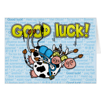 good luck - cows skydive tandem card