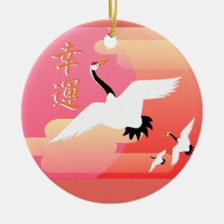 Good Luck Cranes Round Ceramic Ornament