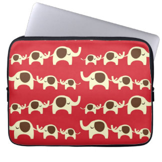 Good luck elephants cherry red cute nature pattern laptop sleeve