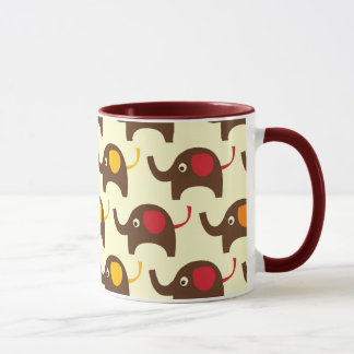 Good luck elephants kawaii cute nature pattern mug