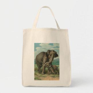 Good luck elephants vintage book illustration grocery tote bag