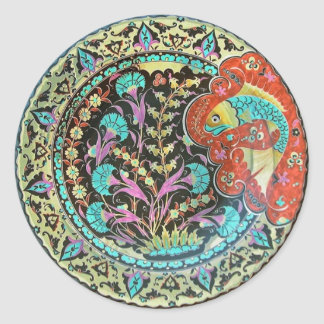 Good Luck Fish Symbol with Botanical Handwork Round Sticker