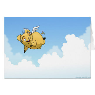 Good Luck! (Flying Pig) Card