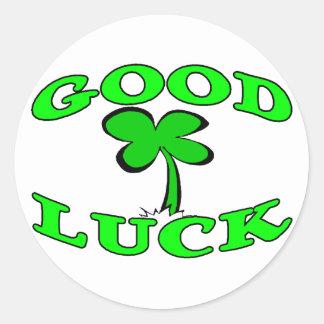Good Luck Four Leaf Clover Classic Round Sticker
