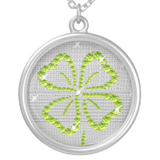 Good Luck Four Leaf clover Green and white Silver Plated Necklace
