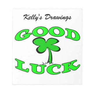 Good Luck Four Leaf Clover Notepad