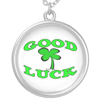 Good Luck Four Leaf Clover Round Pendant Necklace
