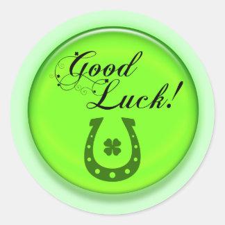 Good Luck Horse Shoe Round Sticker