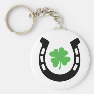 Good Luck Horseshoe Cloverleaf - Shamrock Keychain