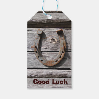 Good Luck Horseshoe on Old Wood Gift Tag Pack Of Gift Tags