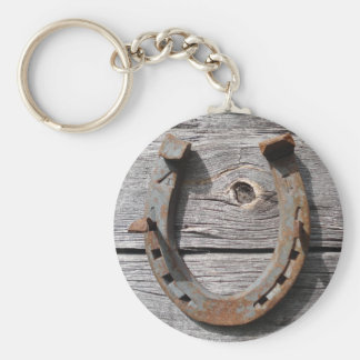 Good Luck Horseshoe on Wooden Fence Keyring Basic Round Button Keychain