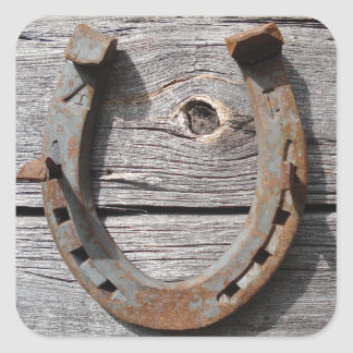 Good Luck Horseshoe on Wooden Fence Stickers