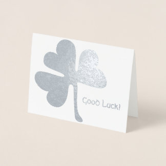 Good Luck! | Irish Shamrock Silver Foil Card