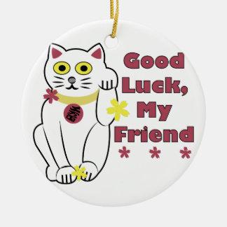 Good Luck Round Ceramic Ornament