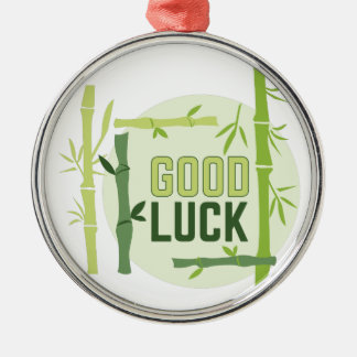 Good Luck Silver-Colored Round Ornament