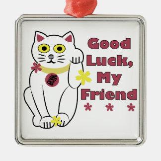 Good Luck Silver-Colored Square Ornament