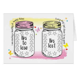 Good Luck Slimming Club Member Weight Tracker Jars Card