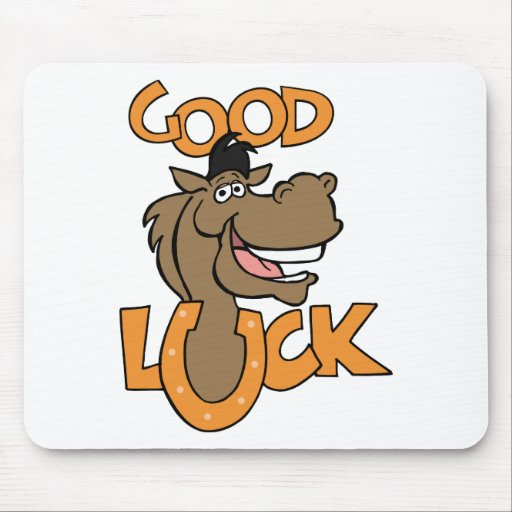 Good Luck ~ Smiling Horse Shoe Word Play Mousepad