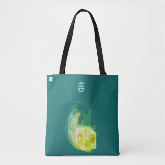 Good Luck Watercolor Tote in Emerald