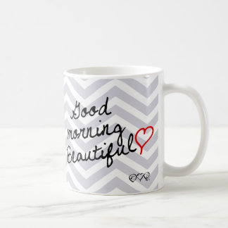Good Morning Beautiful! Dawn Grey Chevron pattern Coffee Mug