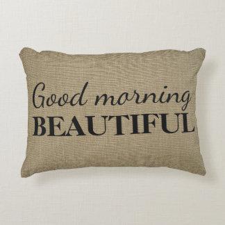 Good Morning Beautiful | Linen Texture Throw Decorative Pillow