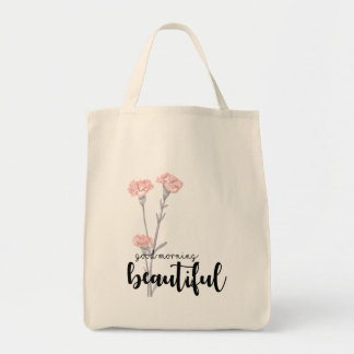 Good morning beautiful with carnations tote bag