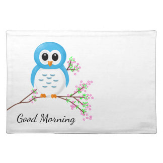 """Good Morning"" Cartoon Owl on a Branch Placemat"