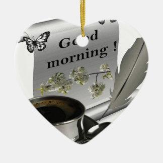 Good Morning Ceramic Heart Ornament