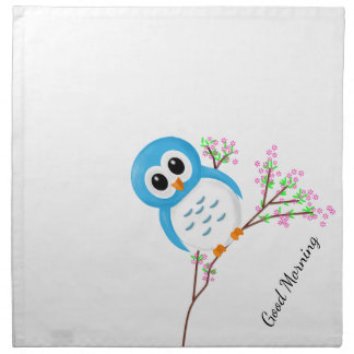 """Good Morning"" Cheerful Cartoon Owl on a Branch Napkin"