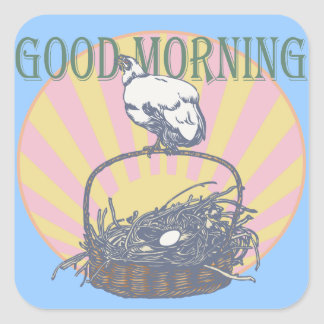 Good Morning Chicken Square Stickers