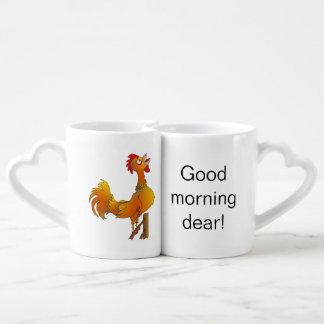 Good morning dear, Crowing rooster Coffee Mug Set