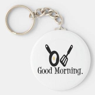 Good Morning Egg Basic Round Button Keychain