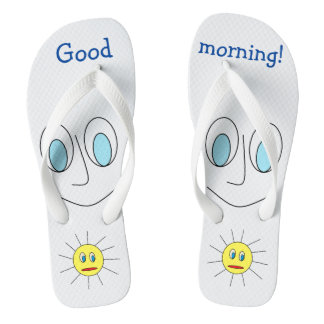 Good morning Fun Smiley Face and Sun Design Flip Flops