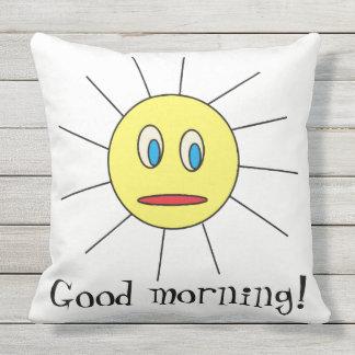 Good morning Fun Yellow Sun Face Drawing Design Throw Pillow