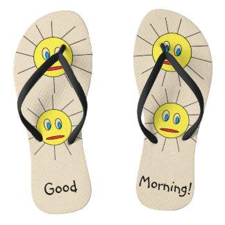 Good Morning Fun Yellow Sun Faces Drawing Design Flip Flops