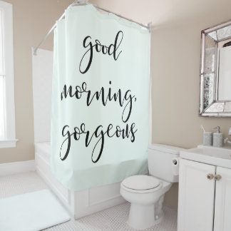 Good Morning Gorgeous   Modern Typography on Mint
