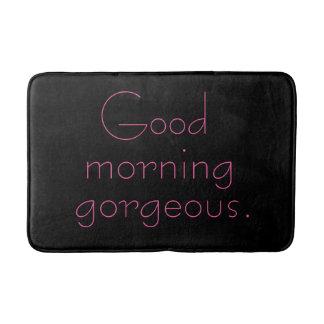Good Morning Gorgeous Pink on Trendy Modern Black Bathroom Mat