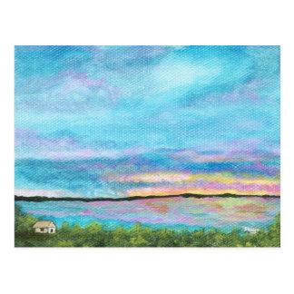 Good Morning Landscape Art Seashore Beach Sunrise Postcard