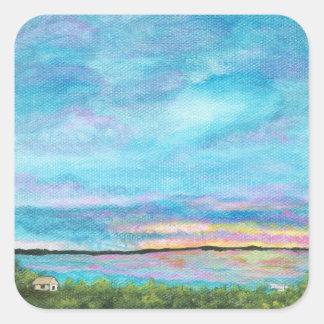 Good Morning Landscape Art Seashore Beach Sunrise Square Sticker