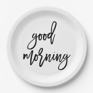 Good Morning | Modern Typography Breakfast 9 Inch Paper Plate