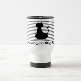 Good Morning Mrs Black Cat Silhouette Minimal Cool Travel Mug
