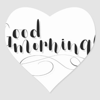 Good Morning Print Heart Sticker